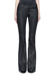 Alice Olivia Lambskin Leather Bell Bottom Pants Black