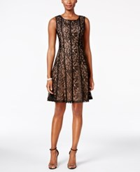 Connected Lace Fit And Flare Dress Black Nude