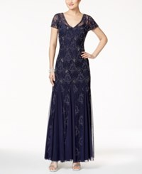 Adrianna Papell V Neck Beaded Lace Gown Navy