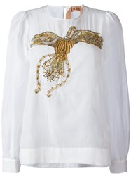 N 21 No21 Sequin Embroidered Blouse White