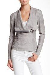Bnci By Blanc Noir Vegan Suede Drape Jacket Gray