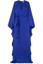 Safiyaa Aurora Hammered Silk Satin Gown Blue Gbp