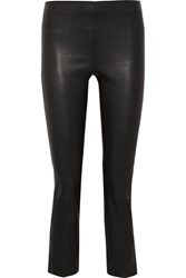 Vince Cropped Leather Leggings Black