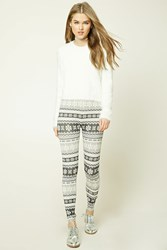 Forever 21 Snowflake Print Leggings Dark Grey Cream