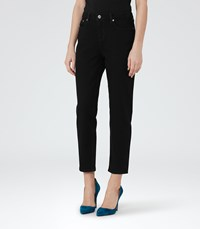 Reiss Raven Womens Straight Leg Cropped Jeans In Black