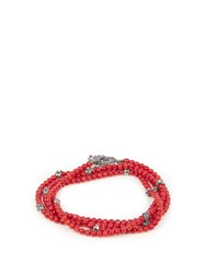 M Cohen Glass Bead And Silver Bracelet Red Multi
