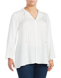 Jones New York Plus Lasercut Eyelet Blouse White