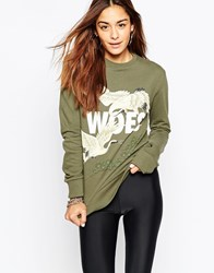 Criminal Damage Oversized Crew Neck Sweatshirt With Woes Print Green