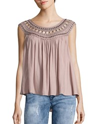 Free People Feel Cap Sleeve Crochet Accented Top Taupe