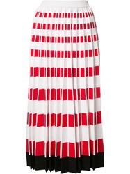 Fendi Pleated Knit Skirt Red