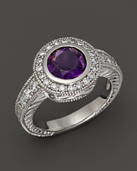 Bloomingdale's 14K White Gold Diamond And Amethyst Round Ring Purple White