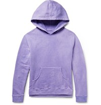 The Elder Statesman Oversized Loopback Cotton Jersey Hoodie Purple