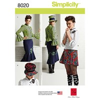Simplicity Misses' Women's Blouse Hat And Knit Skirts Sewing Pattern 8020