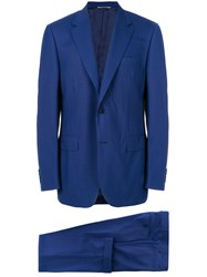 Canali Fitted Suit Blue