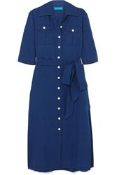 Mih Jeans M.I.H Elise Cotton Chambray Midi Dress Navy