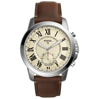 Fossil Q Ftw1118 Men's Grant Chronograph Leather Strap Hybrid Smartwatch Brown Cream