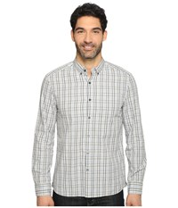 Kenneth Cole Long Sleeve Button Down Collar One Pocket Check Heather Grey Combo Men's Long Sleeve Button Up Black