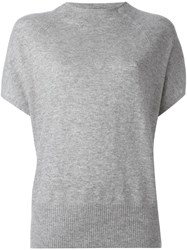 Vince Cap Sleeve Knitted Blouse Grey