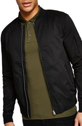 Topman Muscle Fit Bomber Jacket Black