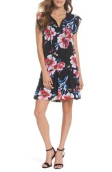 Charles Henry Tie Neck Ruffle Hem Dress Black Fuchsia Blue