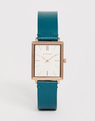 Jigsaw Square Leather Watch In Teal Green