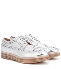 Church's Opal Leather Platform Brogues Silver