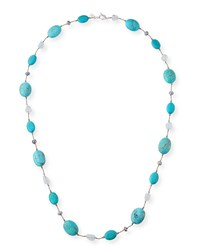 Margo Morrison Turquoise And Blue Topaz Station Necklace