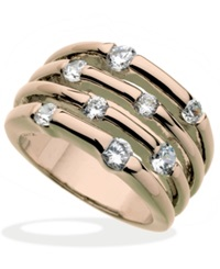 Guess Rose Gold Tone Multirow Crystal Stone Ring