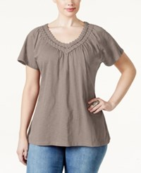 Jm Collection Woman Jm Collection Plus Size Crochet V Neck Tee Only At Macy's Truffle