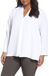 Nic Zoe Plus Size Women's Majestic Matte Satin Blouse Paper White