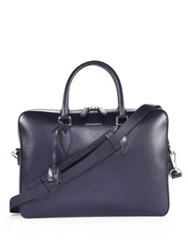 Burberry Hambleton Calf Leather Briefcase Dark Navy