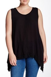 Want And Need Uneven Hem Tank Plus Size Black