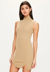 Missguided Camel High Neck Double Wrap Bodycon Dress