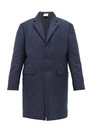 Vetements Padded Plaid Tailored Coat Navy