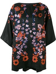 Talbot Runhof Floral Embroidered Tunic Women Silk Polyamide Acetate Metallized Polyester 36 Black