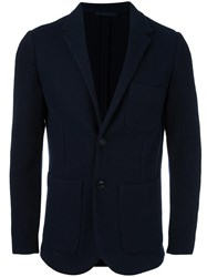 Closed Cable Knit Sleeve Blazer Blue