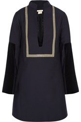 Zeus Dione Thecla Velvet And Jacquard Paneled Wool Blend Mini Dress Navy