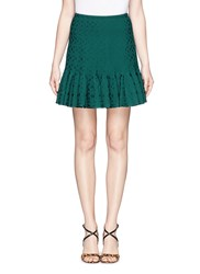 Azzedine Alaia 'Damascus' Flower Jacquard Knit Skirt Green