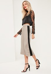 Missguided Nude Contrast Side Stripe Hammered Satin Culottes Mink