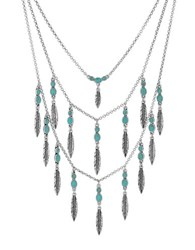 Lucky Brand Silvertone Feather Layer Necklace Blue