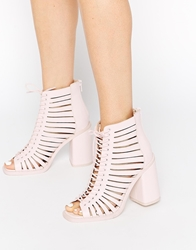 Asos End It Strippy Lace Up Peep Toe Ankle Boots Palepink