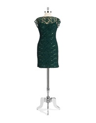 Hailey Logan Lace And Sequin Empire Cocktail Dress Evergreen