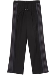 Burberry Striped Panel Wool Mohair Tailored Trousers Black