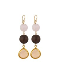 Devon Leigh Rose And Smoky Quartz Triple Drop Earrings Women's