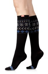 Women's Vim And Vigr Fair Isle Compression Knee Socks Black Blue
