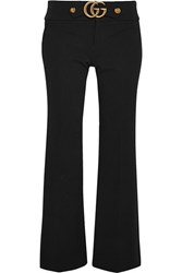 Gucci Cropped Stretch Jersey Flared Pants Black