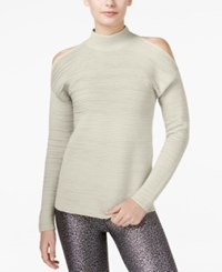 Bar Iii Ribbed Cold Shoulder Sweater Only At Macy's Egret
