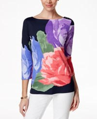 Charter Club Boat Neck Blouse Floral Print Floral Blue