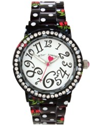 Betsey Johnson Women's Cherry Printed Black And White Polka Dot Bracelet Watch 40Mm Bj00482 14