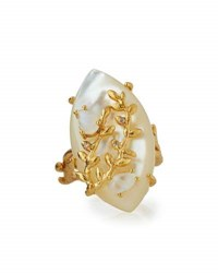 Indulgems Marquise Mother Of Pearl And Moonstone Cocktail Ring White